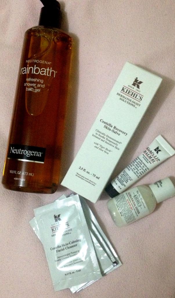 Neutrogena body wash, Kiehl's Centella Recovery Skin Salve, Lip Balm, Toner and facial wash