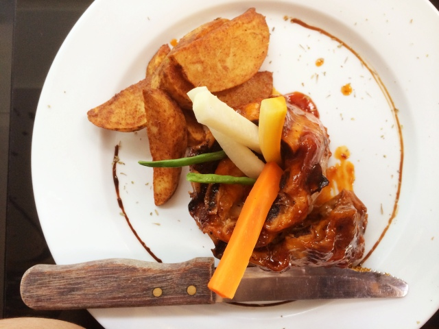 Baby Back Ribs with Potato Wedges, Php 408.
