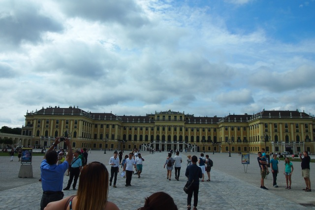 Facade of the Schonbrunn. So many people at 10am in the morning.
