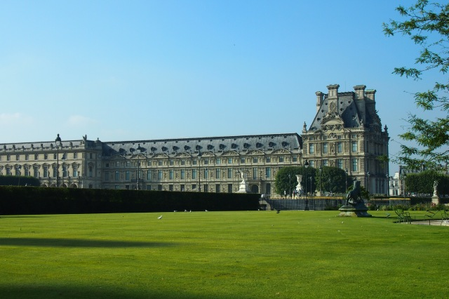 Portion of the palace as seen from the Tuileries.