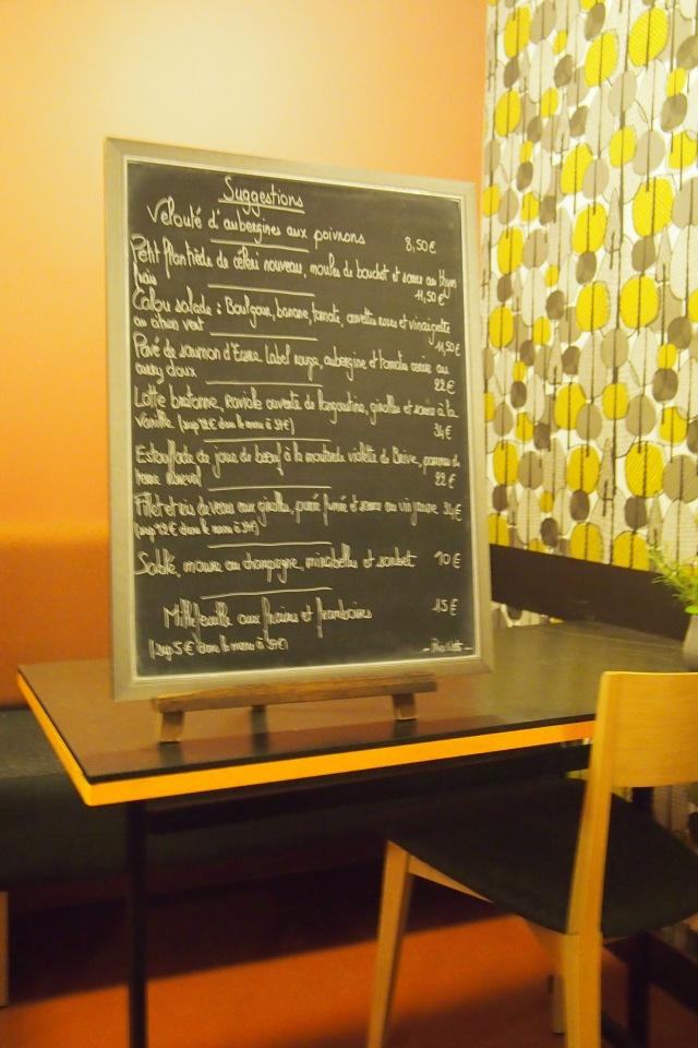 Our cute menu on a blackboard.
